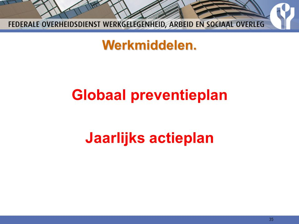 Globaal preventieplan Jaarlijks actieplan