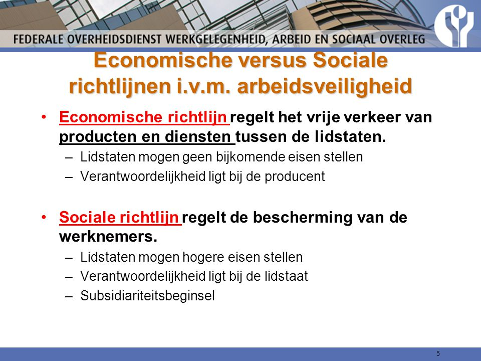 Economische versus Sociale richtlijnen i.v.m. arbeidsveiligheid