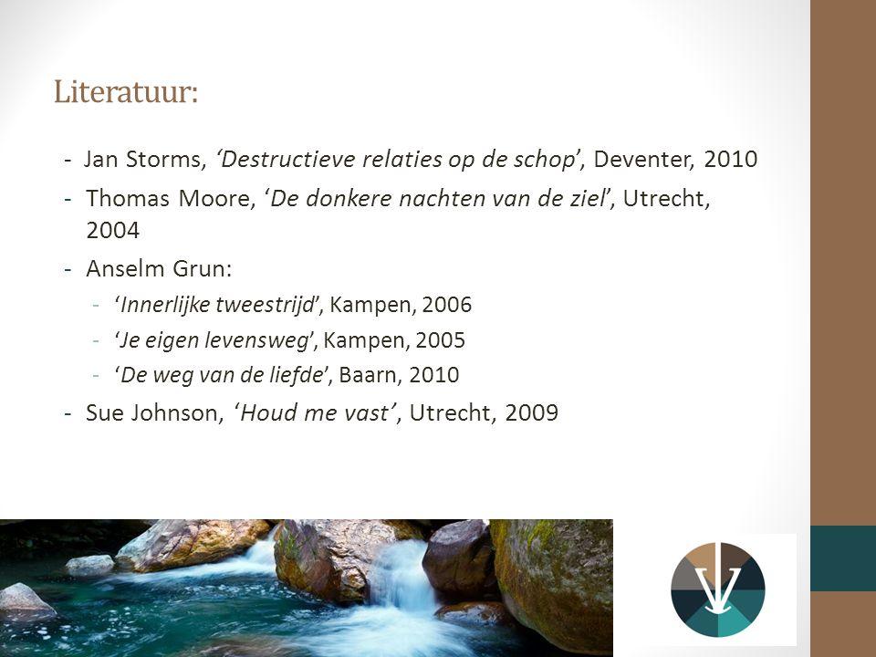 Literatuur: - Jan Storms, 'Destructieve relaties op de schop', Deventer, 2010. Thomas Moore, 'De donkere nachten van de ziel', Utrecht, 2004.