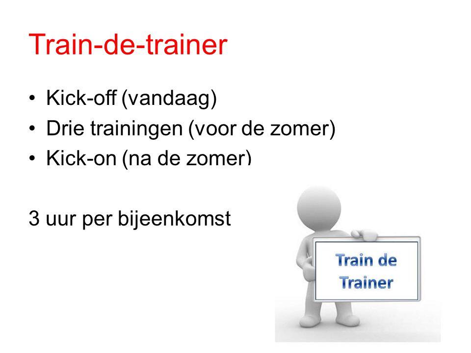 Train-de-trainer Kick-off (vandaag) Drie trainingen (voor de zomer)