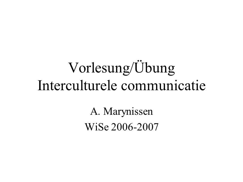 Vorlesung/Übung Interculturele communicatie