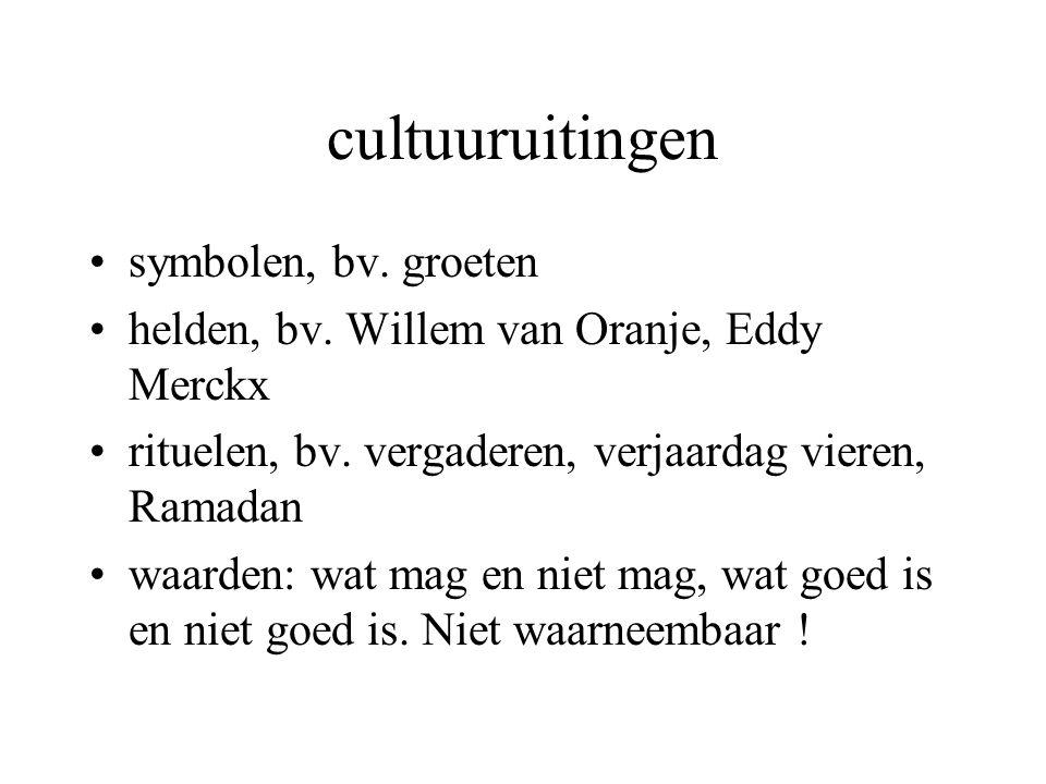cultuuruitingen symbolen, bv. groeten