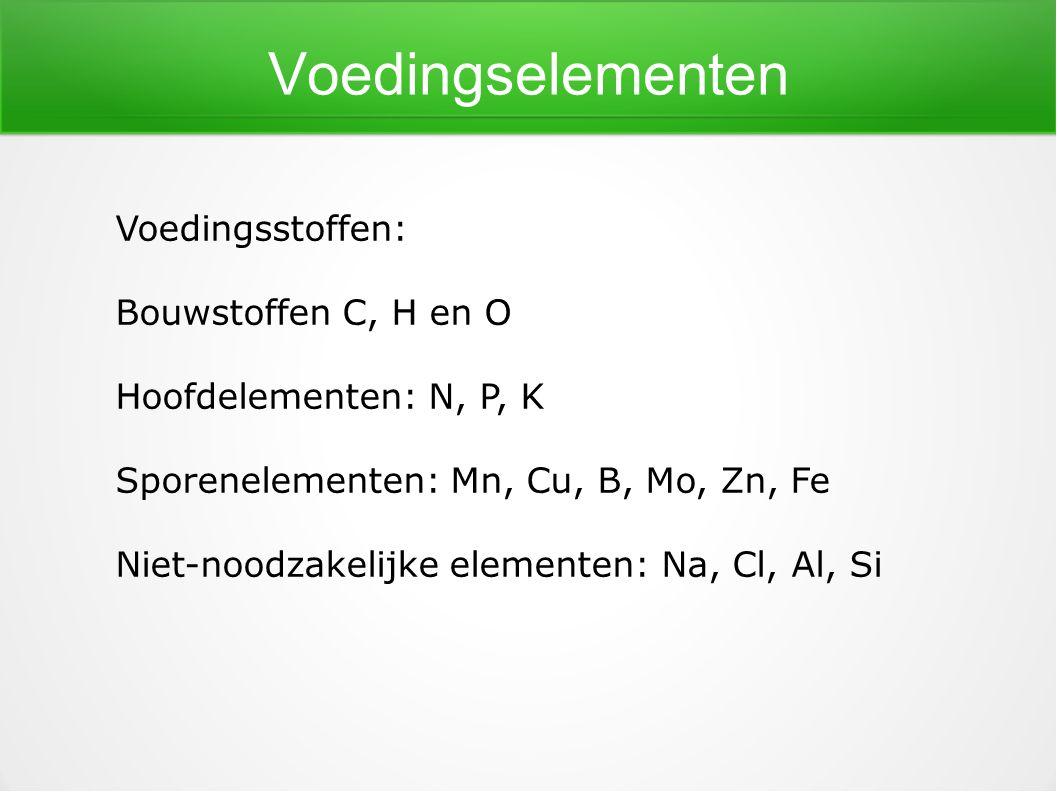 Voedingselementen Voedingsstoffen: Bouwstoffen C, H en O