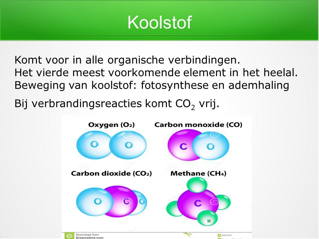 Koolstof Komt voor in alle organische verbindingen.