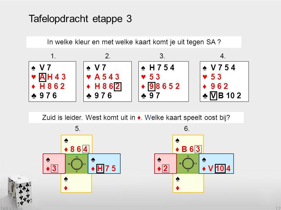 Tafelopdracht etappe 3 ♠ V 7 ♥ A H 4 3 ♦ H 8 6 2 ♣ 9 7 6 ♠ V 7