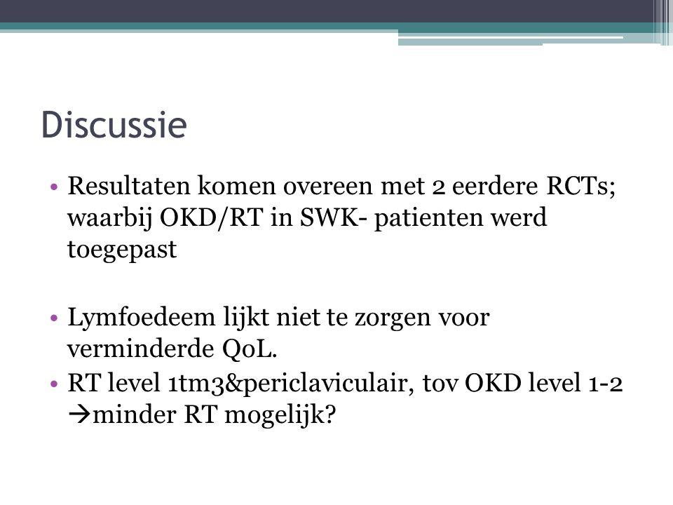 Discussie Resultaten komen overeen met 2 eerdere RCTs; waarbij OKD/RT in SWK- patienten werd toegepast.