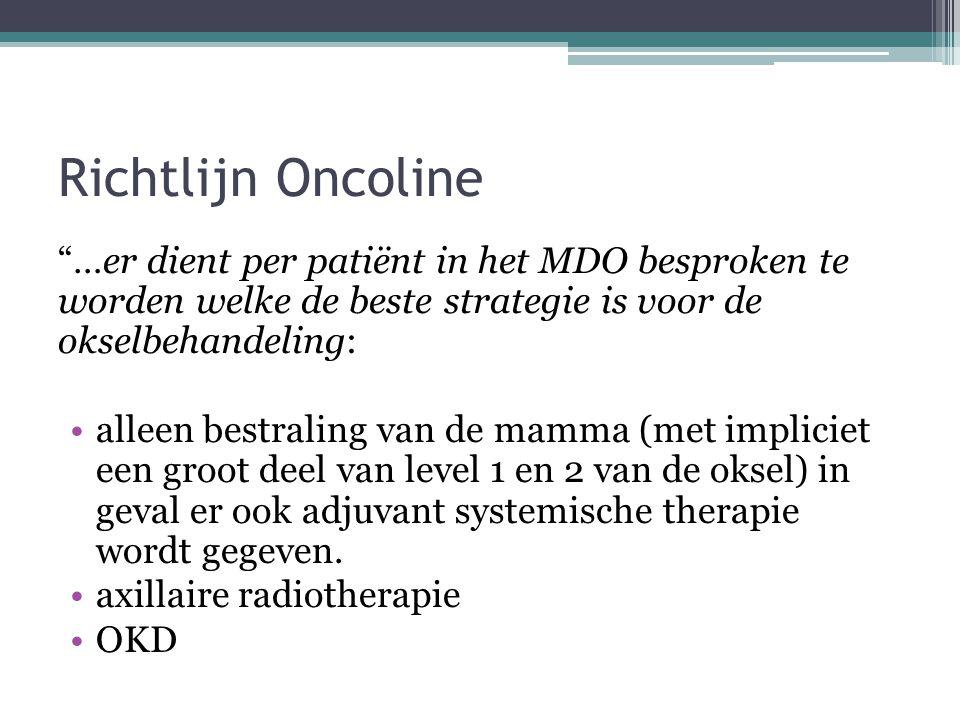 Richtlijn Oncoline …er dient per patiënt in het MDO besproken te worden welke de beste strategie is voor de okselbehandeling: