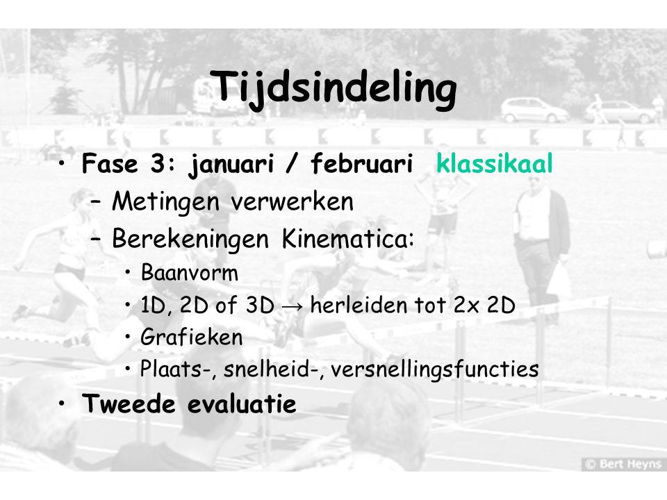 Tijdsindeling Fase 3: januari / februari klassikaal Metingen verwerken