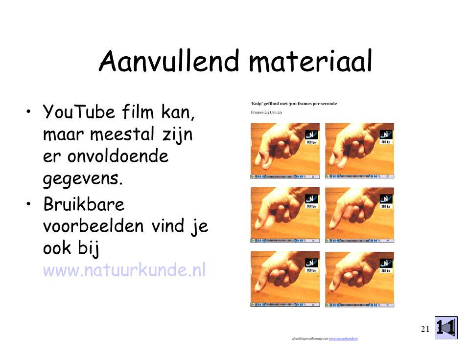 Aanvullend materiaal YouTube film kan, maar meestal zijn er onvoldoende gegevens. Bruikbare voorbeelden vind je ook bij www.natuurkunde.nl.