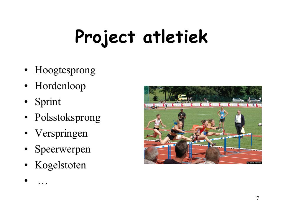 Project atletiek Hoogtesprong Hordenloop Sprint Polsstoksprong