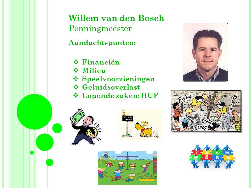 Willem van den Bosch Penningmeester Aandachtspunten: Financiën Milieu