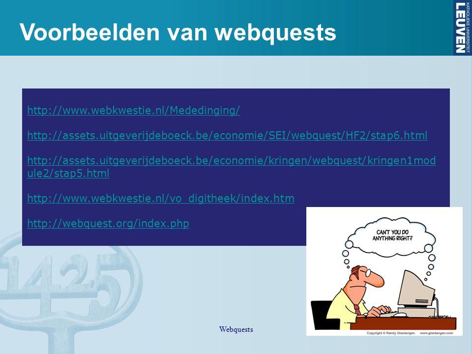 Voorbeelden van webquests