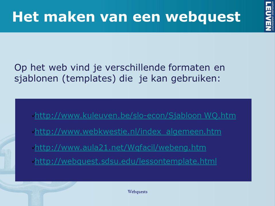 Het maken van een webquest