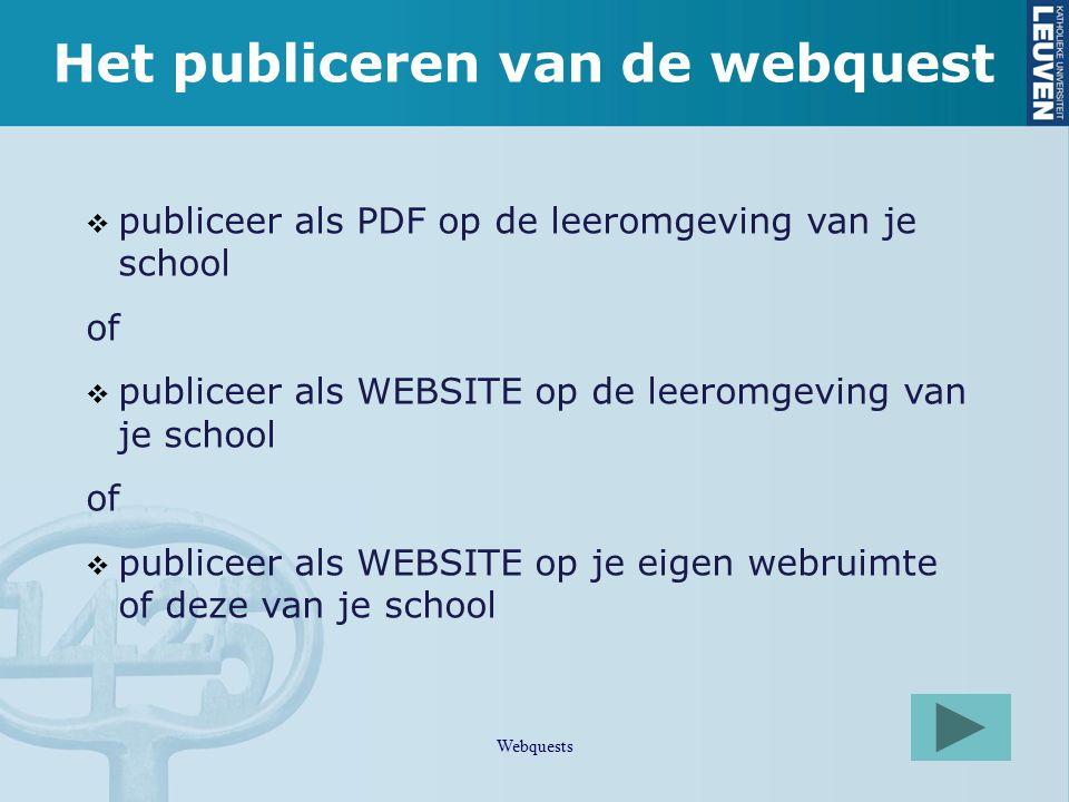 Het publiceren van de webquest