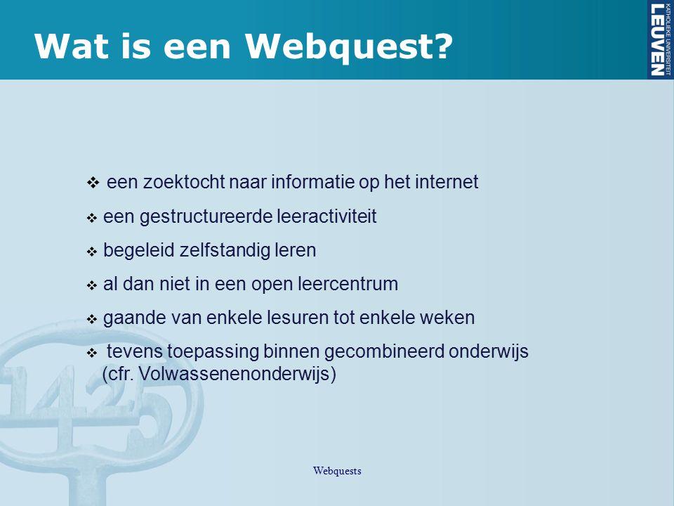 Wat is een Webquest een zoektocht naar informatie op het internet