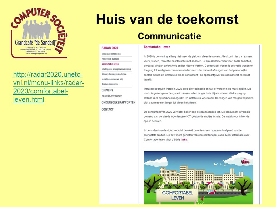 Huis van de toekomst Communicatie