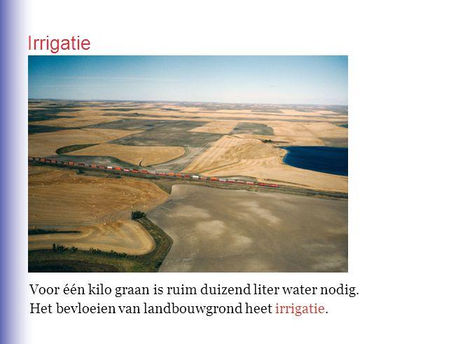 Irrigatie Voor één kilo graan is ruim duizend liter water nodig.