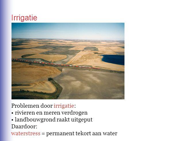 Irrigatie Problemen door irrigatie: rivieren en meren verdrogen
