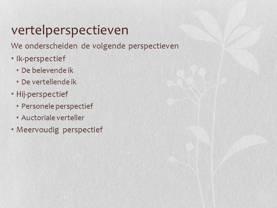 vertelperspectieven We onderscheiden de volgende perspectieven