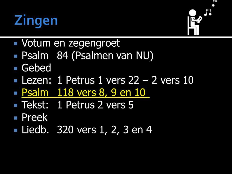 Zingen Votum en zegengroet Psalm 84 (Psalmen van NU) Gebed