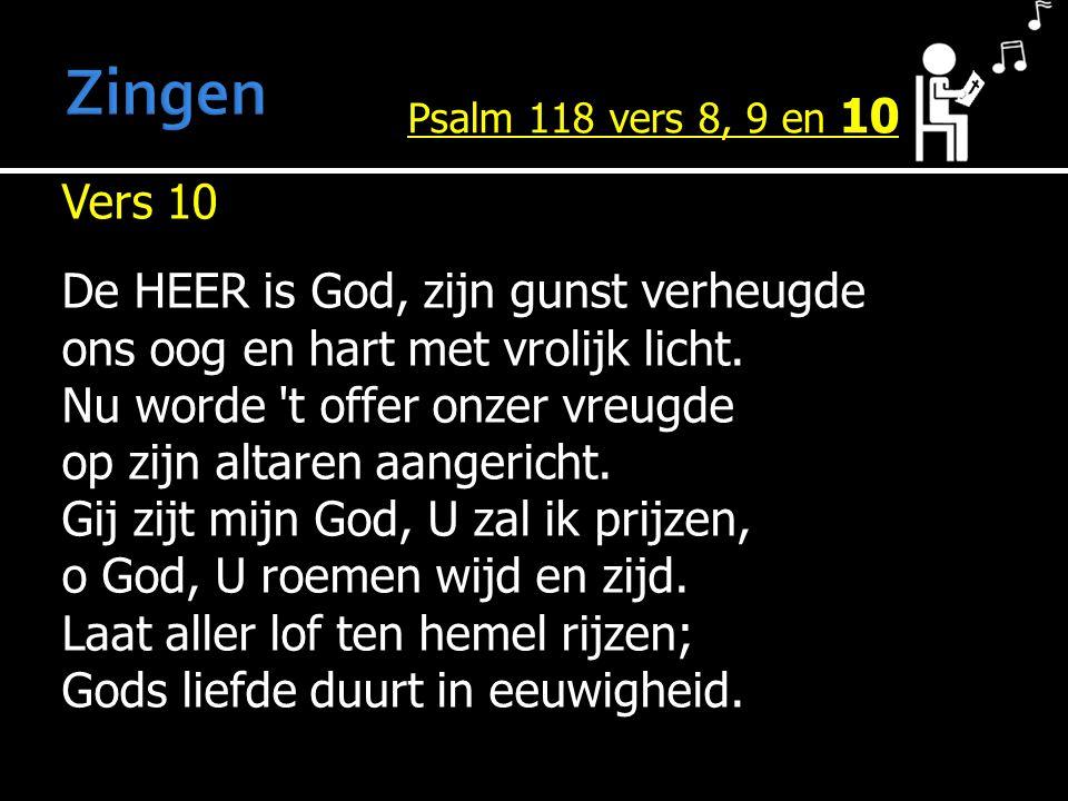 Zingen Psalm 118 vers 8, 9 en 10.