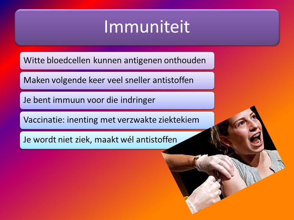 Immuniteit Witte bloedcellen kunnen antigenen onthouden