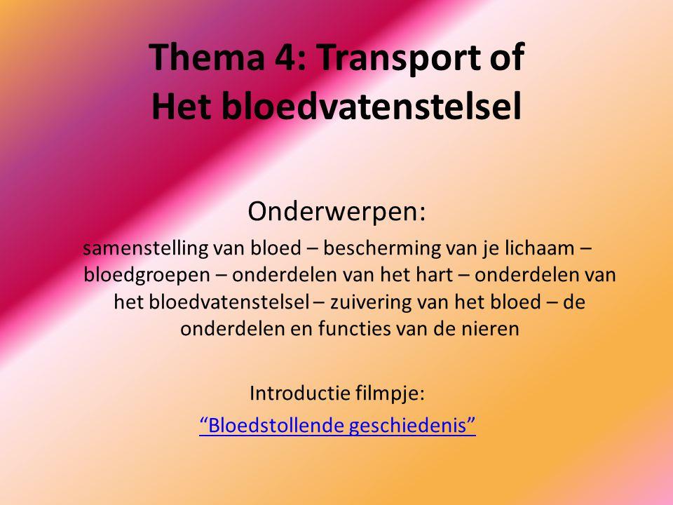 Thema 4: Transport of Het bloedvatenstelsel