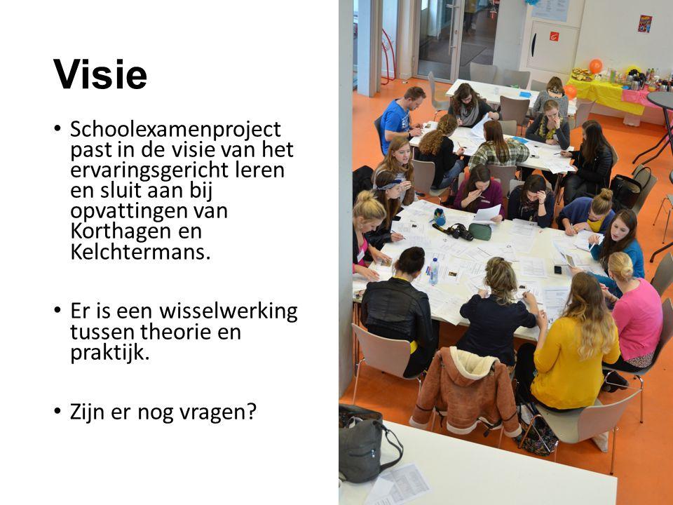 Visie Schoolexamenproject past in de visie van het ervaringsgericht leren en sluit aan bij opvattingen van Korthagen en Kelchtermans.