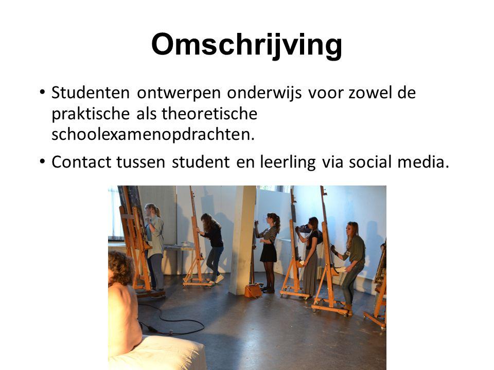 Omschrijving Studenten ontwerpen onderwijs voor zowel de praktische als theoretische schoolexamenopdrachten.