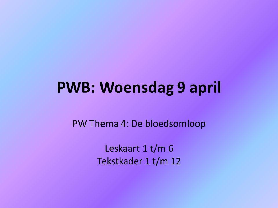 PW Thema 4: De bloedsomloop Leskaart 1 t/m 6 Tekstkader 1 t/m 12