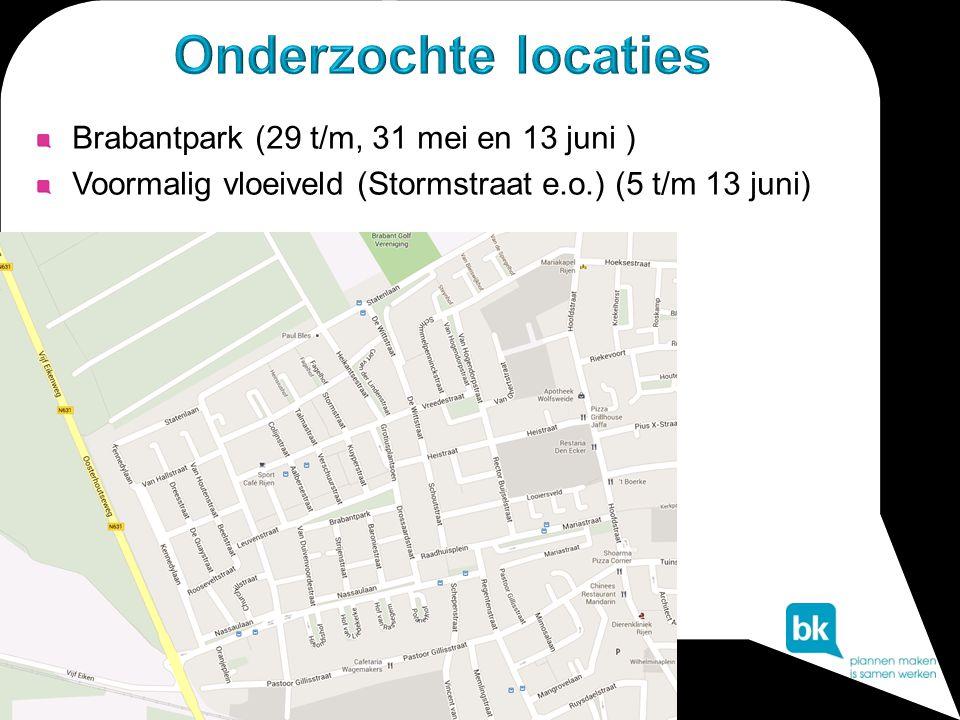 Onderzochte locaties Brabantpark (29 t/m, 31 mei en 13 juni )