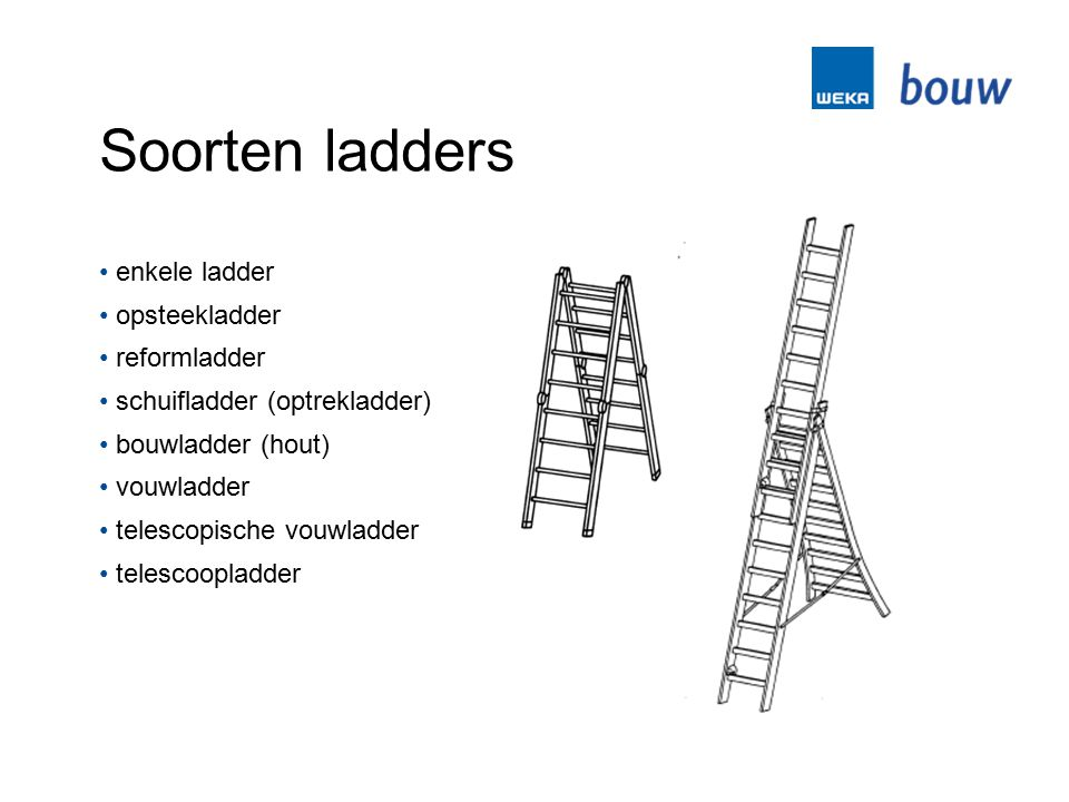Soorten ladders enkele ladder opsteekladder reformladder