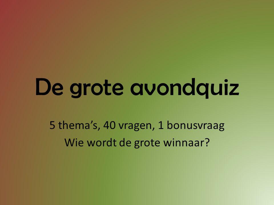 5 thema's, 40 vragen, 1 bonusvraag Wie wordt de grote winnaar