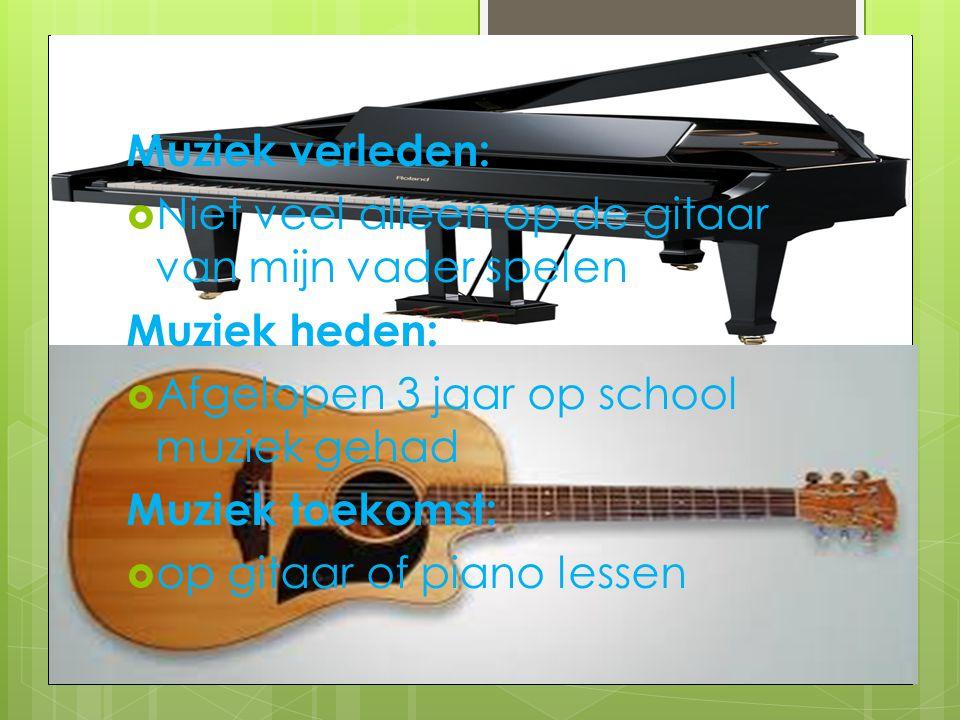 Muziek verleden: Niet veel alleen op de gitaar van mijn vader spelen. Muziek heden: Afgelopen 3 jaar op school muziek gehad.