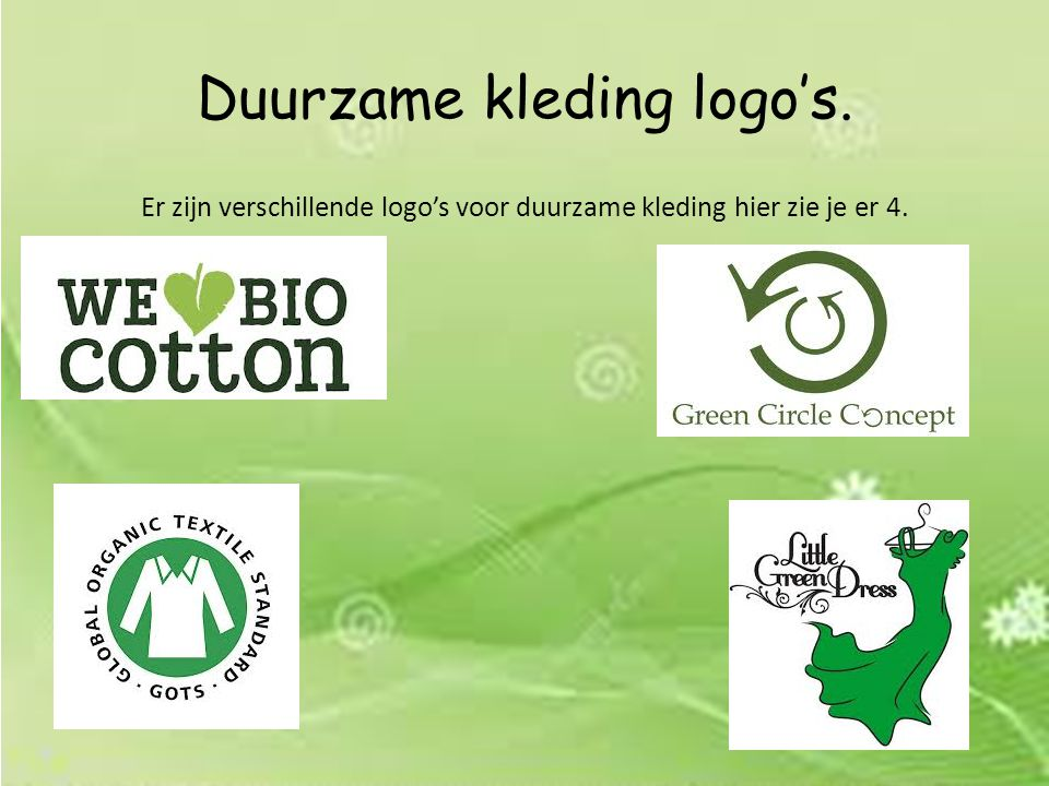 Duurzame kleding logo's.