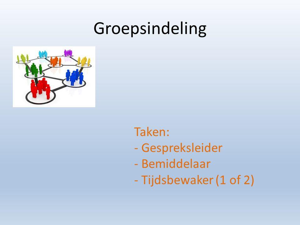 Groepsindeling Taken: - Gespreksleider - Bemiddelaar