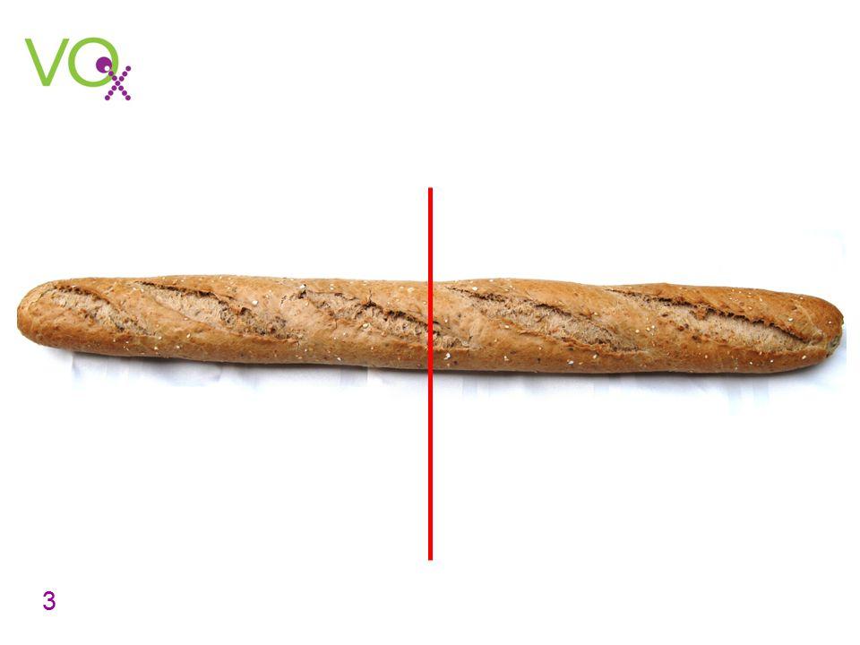 Sta met de leerlingen stil bij het feit dat de stokbrood in tweeën verdeeld is. Stel vervolgens terwijl u wijst naar een deel de vraag Hoe noem je zo'n deel . Laat leerlingen reageren. Sommige leerlingen zeggen misschien de helft, anderen noemen ½. Toon vervolgens de volgende dia.