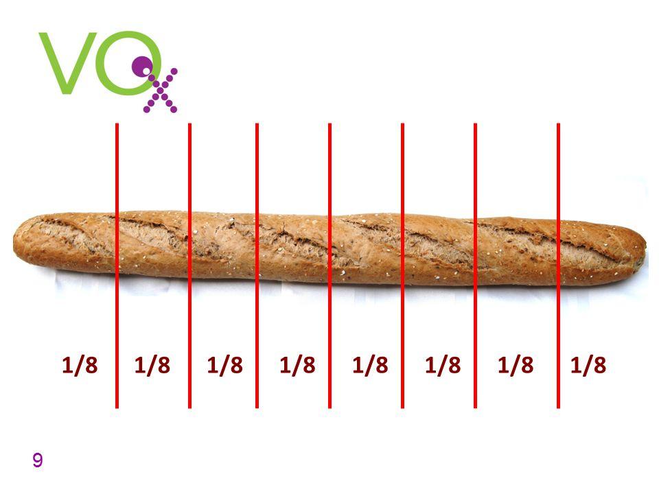 In hoeveel stukken is de stokbrood nu verdeeld Hoe noem je zo'n deel