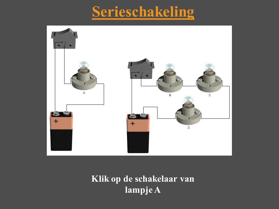 Klik op de schakelaar van lampje A