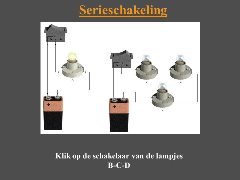 Klik op de schakelaar van de lampjes B-C-D