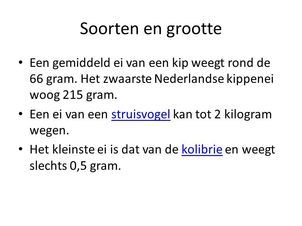 Soorten en grootte Een gemiddeld ei van een kip weegt rond de 66 gram. Het zwaarste Nederlandse kippenei woog 215 gram.