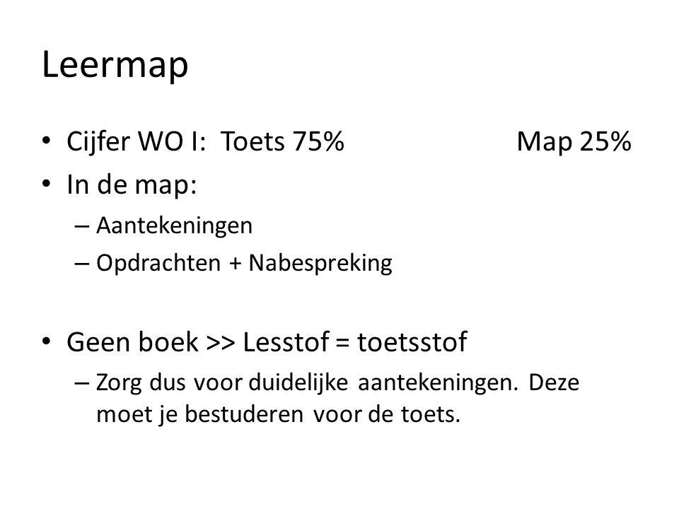 Leermap Cijfer WO I: Toets 75% Map 25% In de map: