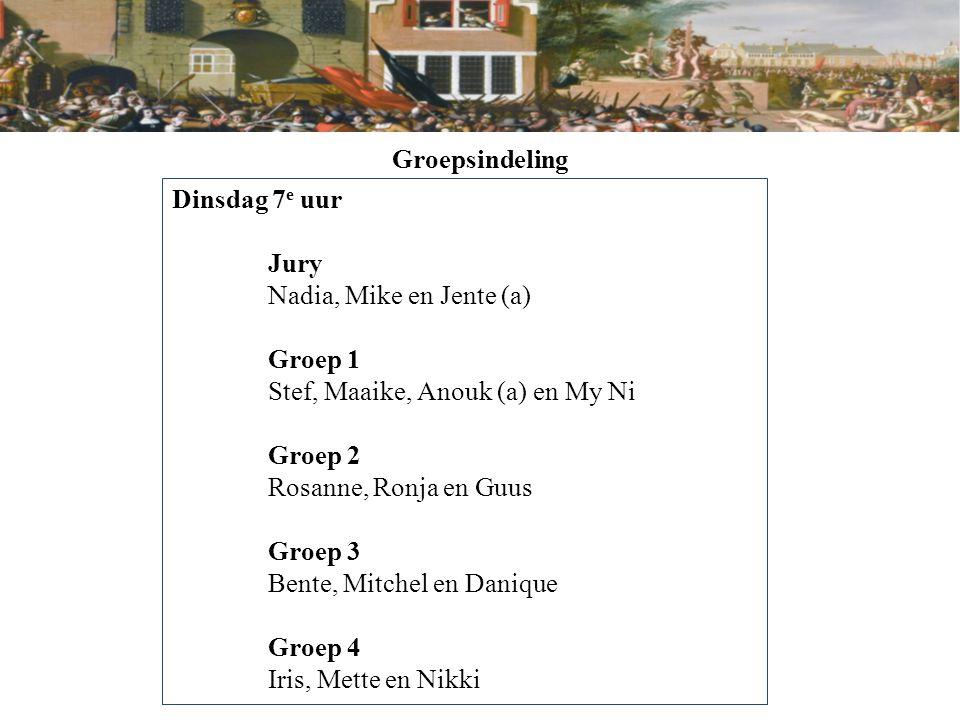 Groepsindeling Dinsdag 7e uur. Jury. Nadia, Mike en Jente (a) Groep 1. Stef, Maaike, Anouk (a) en My Ni.