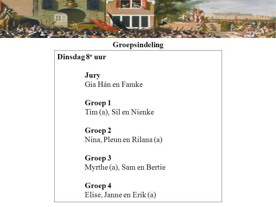 Groepsindeling Dinsdag 8e uur. Jury. Gia Hân en Famke. Groep 1. Tim (a), Sil en Nienke. Groep 2.