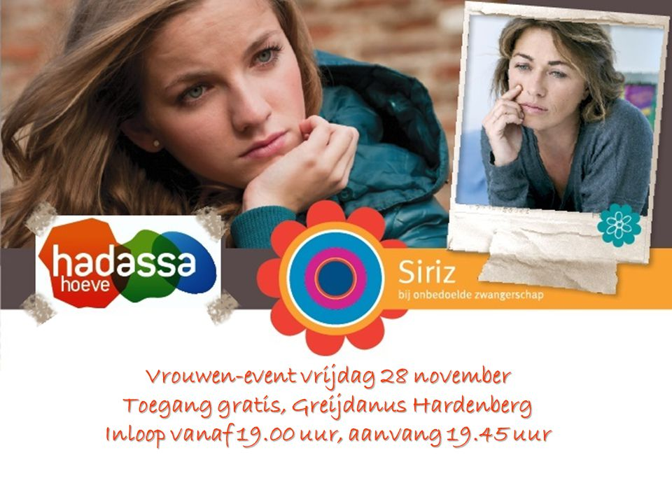 Vrouwen-event vrijdag 28 november