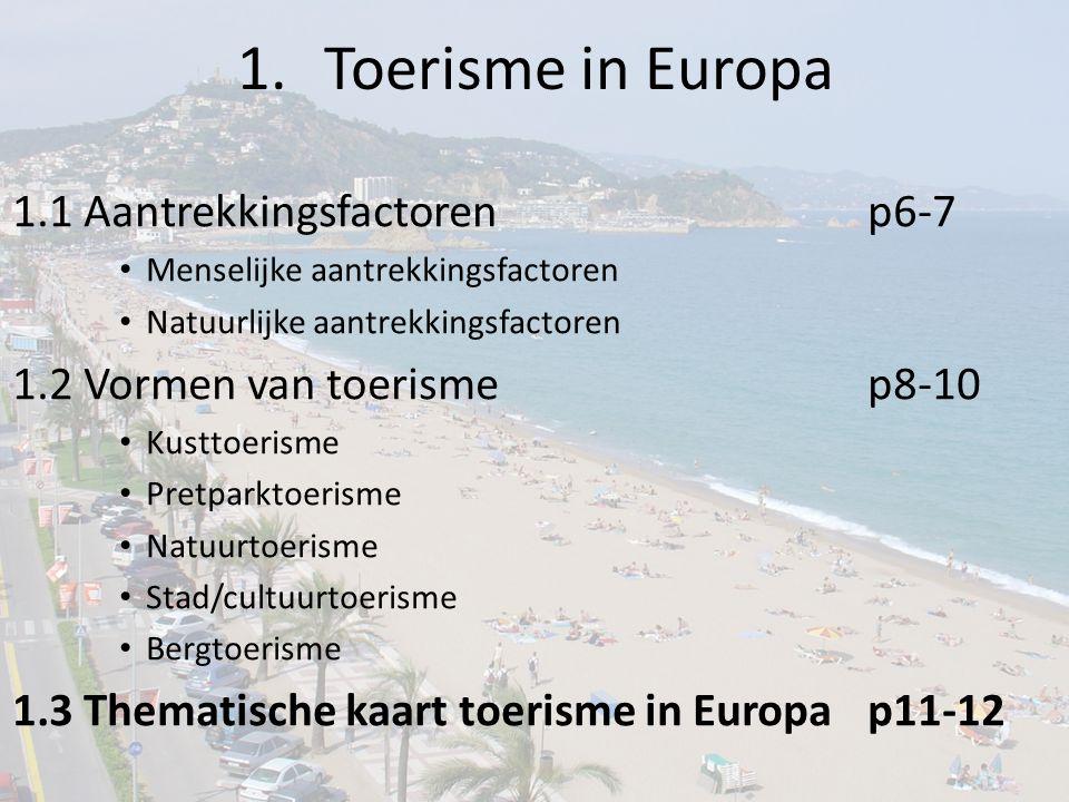 Toerisme in Europa 1.1 Aantrekkingsfactoren p6-7