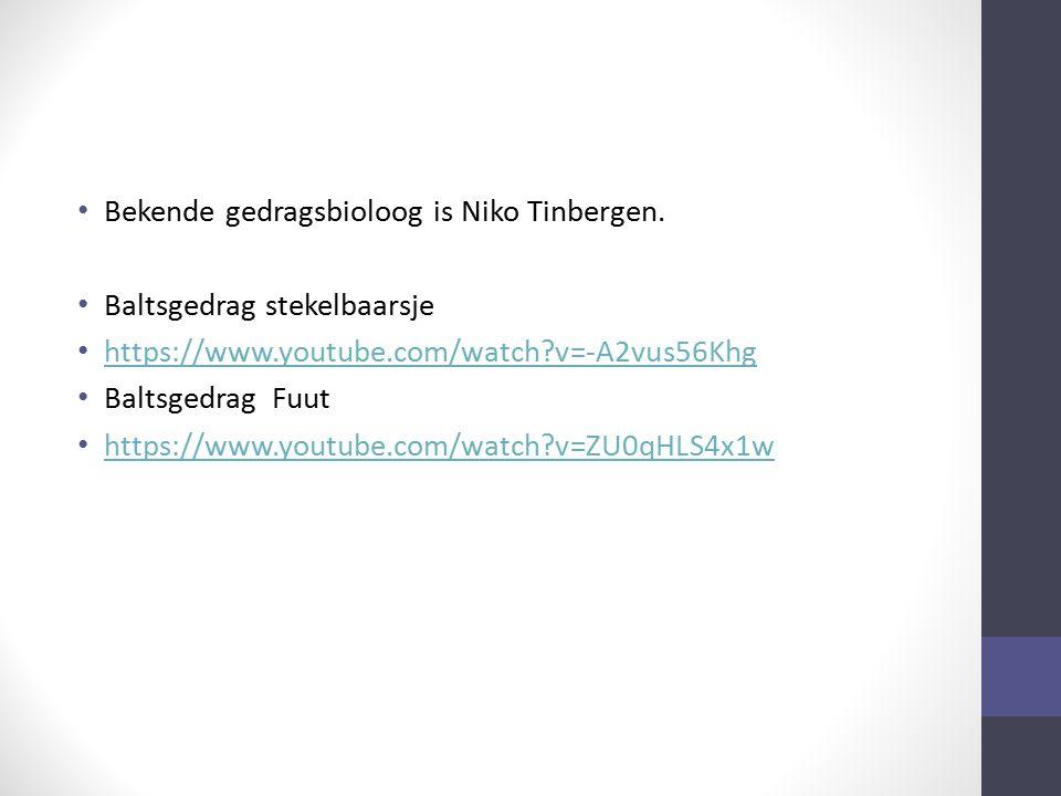 Bekende gedragsbioloog is Niko Tinbergen.