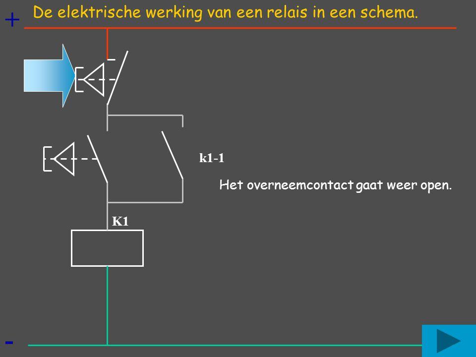 + - De elektrische werking van een relais in een schema. k1-1