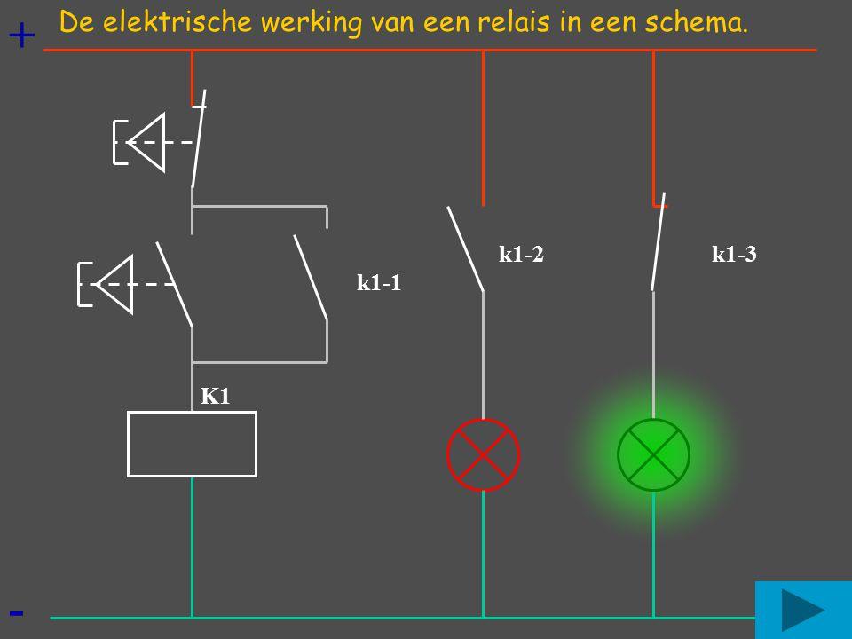 + - De elektrische werking van een relais in een schema. k1-2 k1-3