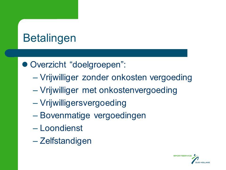 Betalingen Overzicht doelgroepen :